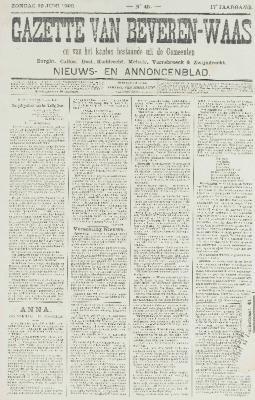 Gazette van Beveren-Waas 10/06/1900
