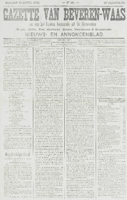 Gazette van Beveren-Waas 13/04/1902