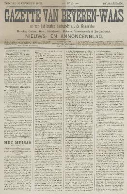 Gazette van Beveren-Waas 16/10/1892