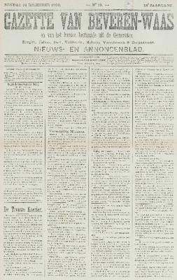 Gazette van Beveren-Waas 16/12/1900