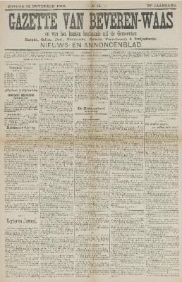 Gazette van Beveren-Waas 24/11/1912