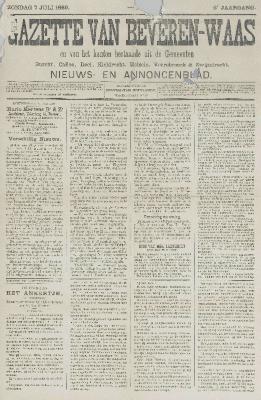 Gazette van Beveren-Waas 07/07/1889