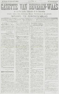 Gazette van Beveren-Waas 29/03/1903