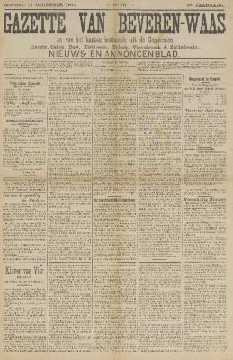 Gazette van Beveren-Waas 11/12/1910