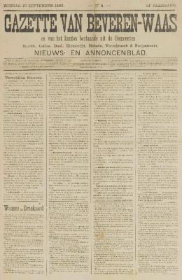 Gazette van Beveren-Waas 27/09/1896