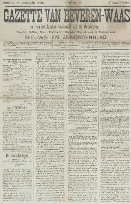 Gazette van Beveren-Waas 17/01/1892