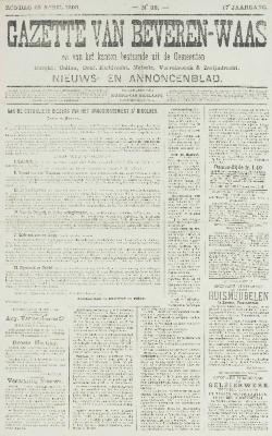 Gazette van Beveren-Waas 22/04/1900