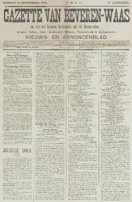 Gazette van Beveren-Waas 13/09/1891