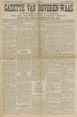 Gazette van Beveren-Waas 20/07/1913