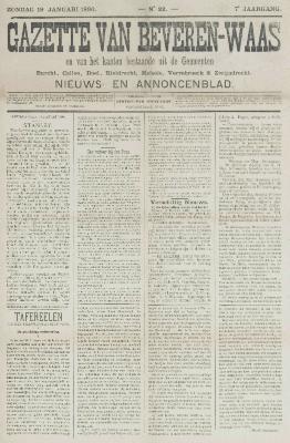Gazette van Beveren-Waas 19/01/1890