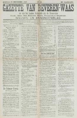 Gazette van Beveren-Waas 15/12/1907