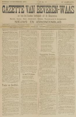 Gazette van Beveren-Waas 14/11/1897