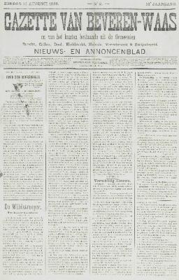 Gazette van Beveren-Waas 14/08/1898