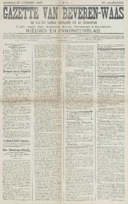 Gazette van Beveren-Waas 29/08/1909