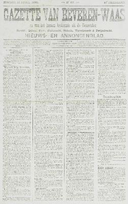 Gazette van Beveren-Waas 16/04/1899