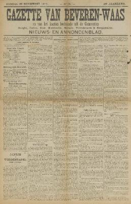 Gazette van Beveren-Waas 26/11/1911