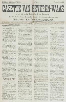 Gazette van Beveren-Waas 24/03/1889