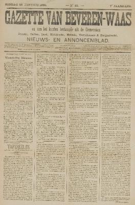 Gazette van Beveren-Waas 26/01/1890