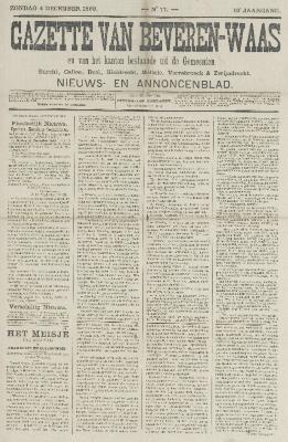 Gazette van Beveren-Waas 04/12/1892