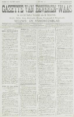 Gazette van Beveren-Waas 28/05/1899