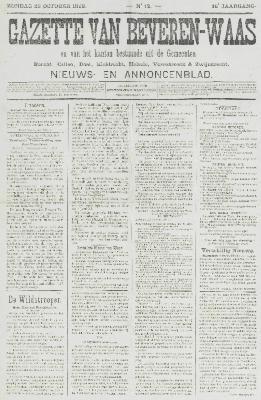 Gazette van Beveren-Waas 23/10/1898