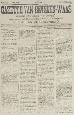 Gazette van Beveren-Waas 17/06/1894