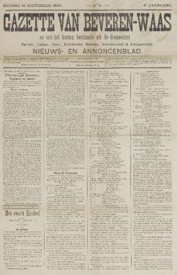 Gazette van Beveren-Waas 14/09/1890