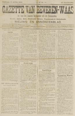 Gazette van Beveren-Waas 10/04/1898