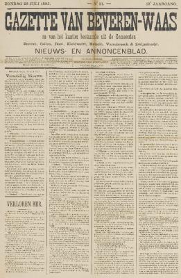Gazette van Beveren-Waas 28/07/1895