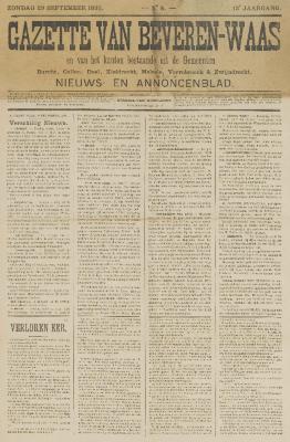 Gazette van Beveren-Waas 29/09/1895