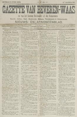 Gazette van Beveren-Waas 03/06/1894