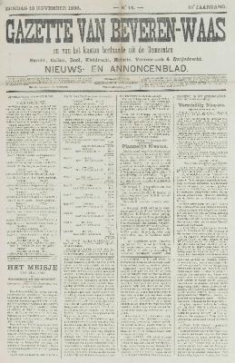 Gazette van Beveren-Waas 13/11/1892