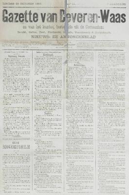 Gazette van Beveren-Waas 18/10/1885