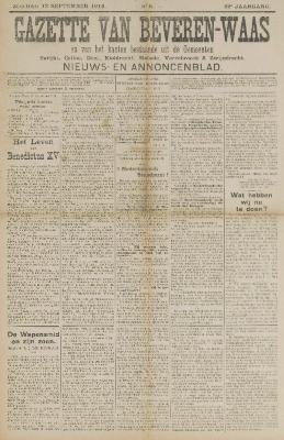 Gazette van Beveren-Waas 13/09/1914