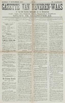 Gazette van Beveren-Waas 17/11/1907