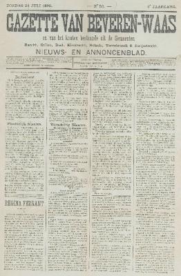 Gazette van Beveren-Waas 24/07/1892