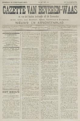 Gazette van Beveren-Waas 26/02/1893
