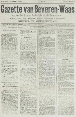 Gazette van Beveren-Waas 15/03/1885