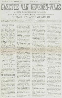 Gazette van Beveren-Waas 15/09/1901