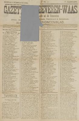 Gazette van Beveren-Waas 09/02/1890