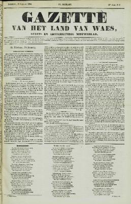 Gazette van het Land van Waes 15/01/1854