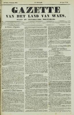 Gazette van Land van Waes 09/09/1855