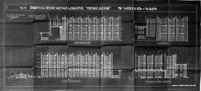 Breigoedfabriek Mercator: gevelplan