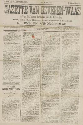 Gazette van Beveren-Waas 07/08/1887