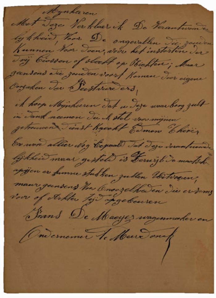 Verklaring van wagenmaker en ondernemer Frans De Maeyer, 1910