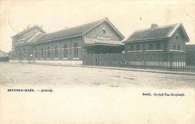 Prentkaart Spoorlijn 59 station Beveren