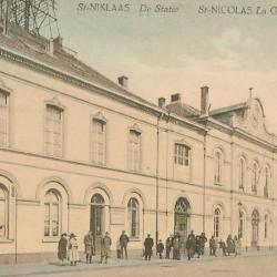Prentkaart Spoorlijn 59 station Sint- Niklaas 1912