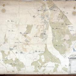 Kaart van heerlijkheden het Beverse, Puiembeke, Paddeschoot en Aarschot te Sint-Niklaas, 1786