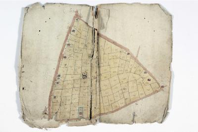Kaartboek Sint-Niklaas, met wijkkaarten, 1696