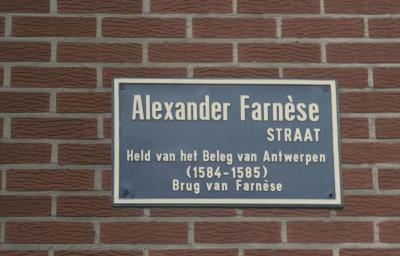 Straatnaambord Alexander Farnèsestraat